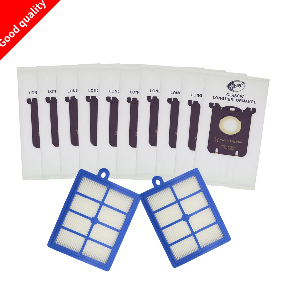 12pcs/set Free Shipping 2 Hepa Filter 10pcs Dust Bags For Electrolux Vacuum Cleaner Filter For Electrolux Hepa Filter And S-BAG