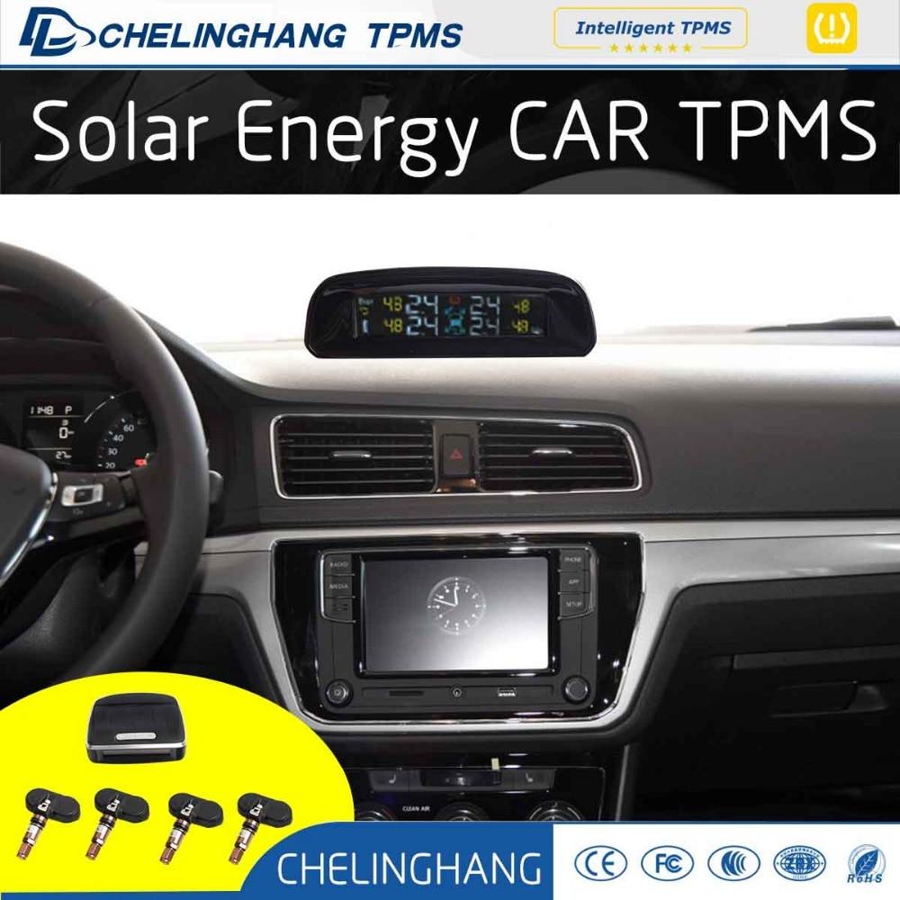 DLCLH Solar energy power TPMS Universal Car Tire Pressure With 4 Internal Sensors diagnostic tool for car detector dvr Bar Psi original autel maxitpms ts501 with obd2 adapters tpms diagnostic