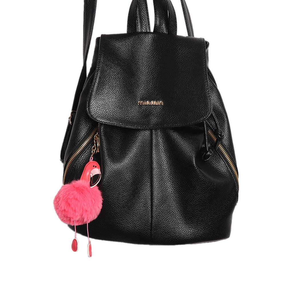 Flamingo bonito pompom keychain chaveiro fofo falso bola de pêlo de coelho mulheres saco pom pom pom Fivela anel chave do carro titular Natal