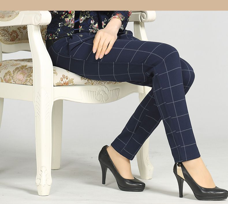 Woman Casual Pant Navy Blue Green Black Plaid Trousers Women Spring Autumn Winter Trouser High Waist Elastic Band Pantalonese Mujer  (9)