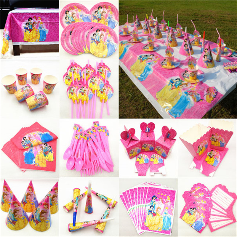 Kids Birthday Princess Party Supplies Decoration Tablecloth Cup Plate Straw Napkin Cap Gift Bag Candles Candy Popcorn Box Card