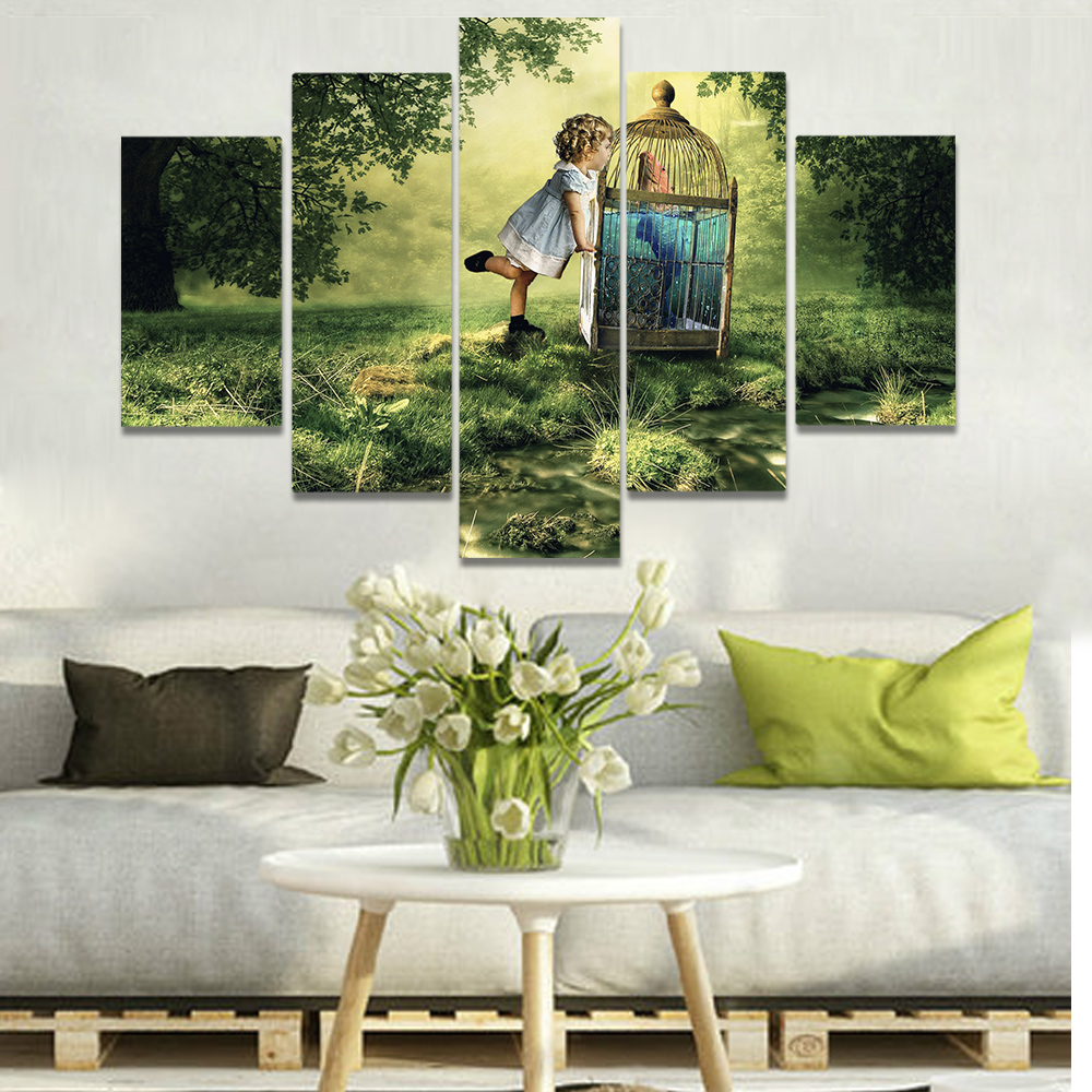 Unframed Canvas Art Painting Meadow Child Fish Inside A Cage Picture Prints Wall Picture For Living Room Wall Art Decoration