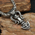 Vintage Gothic double anchor with snack  pendants for  Men and women  Stainless steel necklace