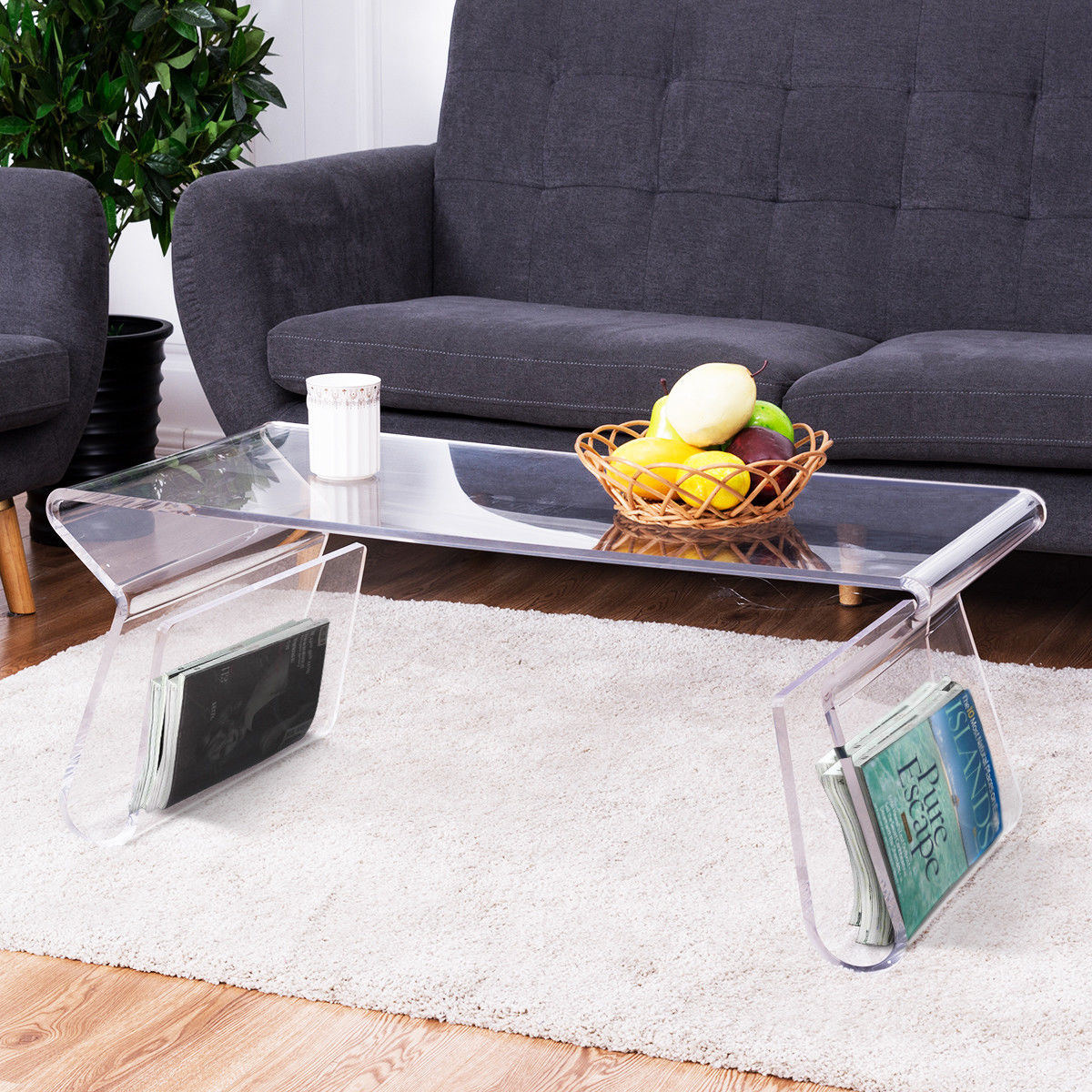 "Giantex 38"" Clear Acrylic Coffee Table Modern Cocktail Table with Integrated Magazine Rack"