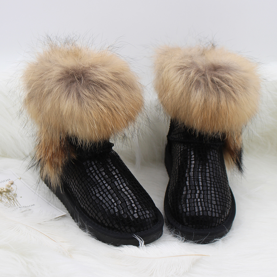 MIYAGINA Womens Australia Style Real Natural Fox Fur Snow Boots 100% Genuine Cowhide Leather Women Boots Female Winter Shoes ...