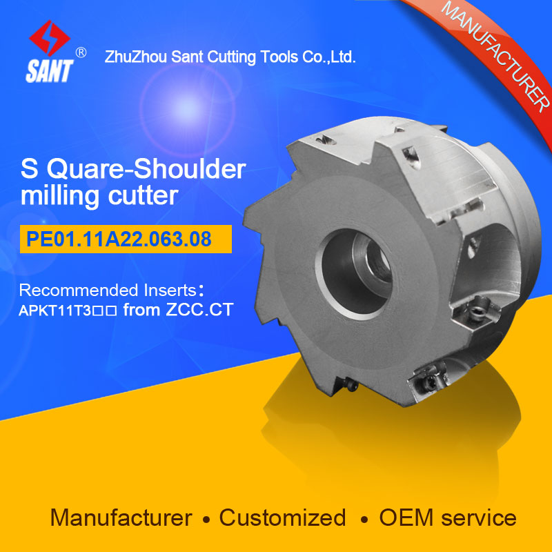 High quality square shoulder milling tools holder for CNC lathe machining center cutter with high precision PE01.11A22.063.08 zcc ct square shoulder milling cutters emp05 high performance cnc lathe tools indexable milling tools