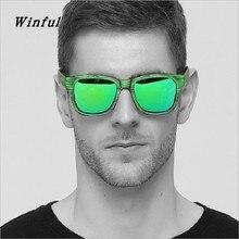 Trend cool Polarized sunglasses men Brand Designer Green Imitation wood grain sun Glasses HD Lens Driving Fishing Eyewear