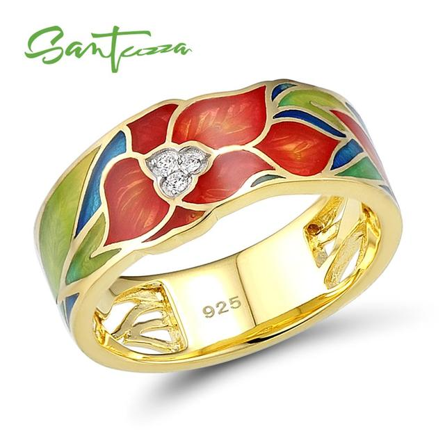 SANTUZZA Silver Ring For Women 925 Sterling Silver Exquisite Flower Gold Color Brilliant Cubic Zirconia Ring Chic Jewelry Enamel