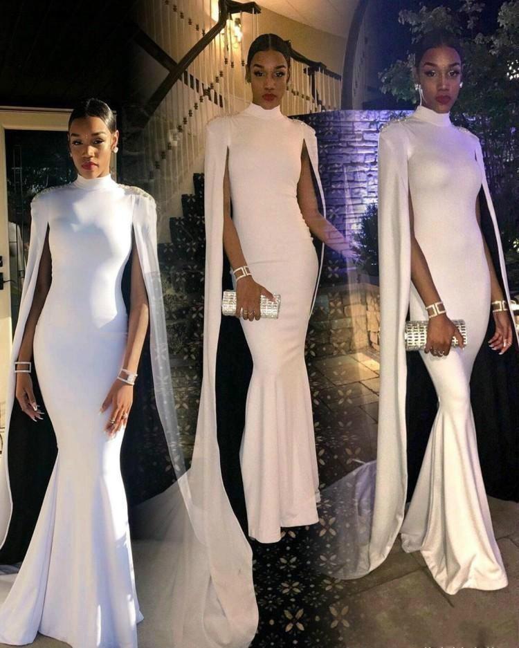 2019 Hoge Hals Avondjurk Mermaid Met Cape Lange Mouwen Holiday Wear Pageant Prom Party Gown Custom Made Plus Size