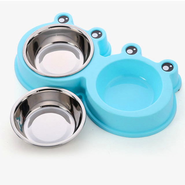 Dog Feeders Bowl Frog Style Plastic Dog Food Bowl Pet Feeding Double Bowl Stainless Steel Pet Dog Supplies Fast Free shipping 20