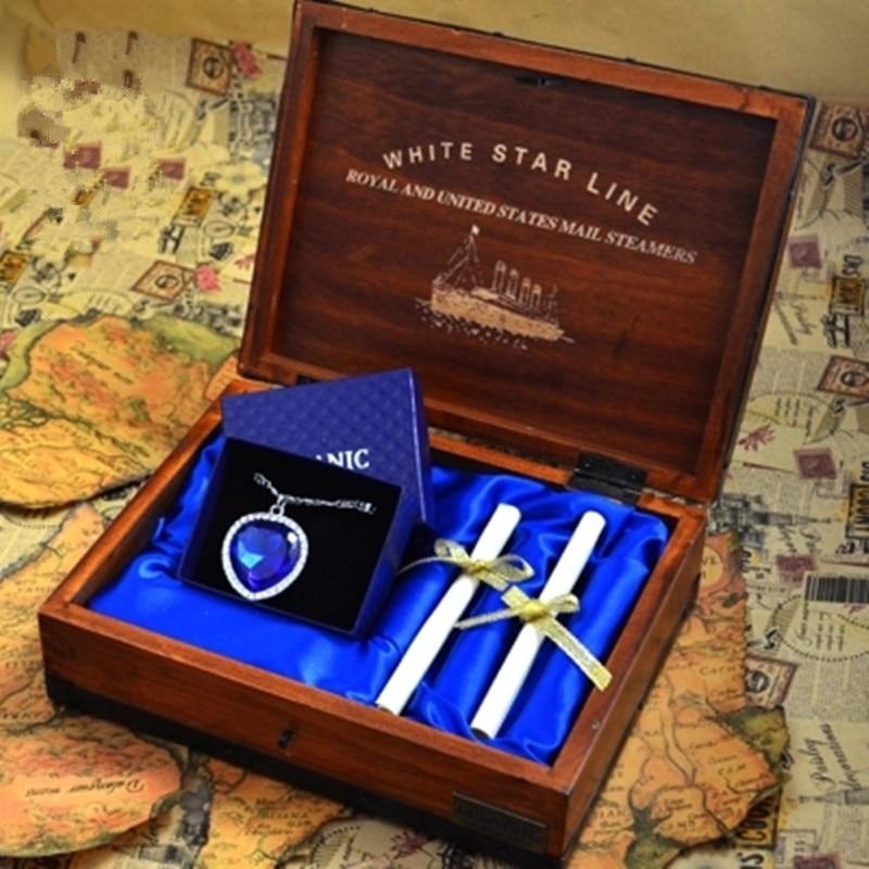 Bijoux cristal strass coeur d'océan Titanic clavicule chaîne colliers & boîte en bois roman femmes cadeau L1750