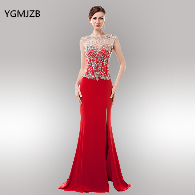 Red Long Evening Dresses 2018 Mermaid Sheer Scoop Side Split Open Back Beaded Crystal See Through Women Evening Gown Prom Dress