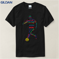 Top Quality 2017 New Brand S Short Sleeve Men Soccerer Footballer Silhouettes Broadcloth Crew Neck T