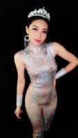 Серебряные блестят стразы комбинезон Рубашка с короткими рукавами камни боди производительность вечерние праздновать Baalmar костюм танец Ко