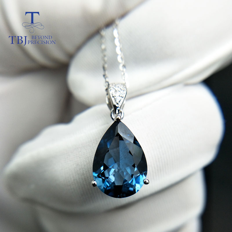 TBJ,Big luxury simple pendant with natural london blue topaz in 925 sterling silver fine jewelry for women lady daily party wear wwd women s wear daily 2012 11 26