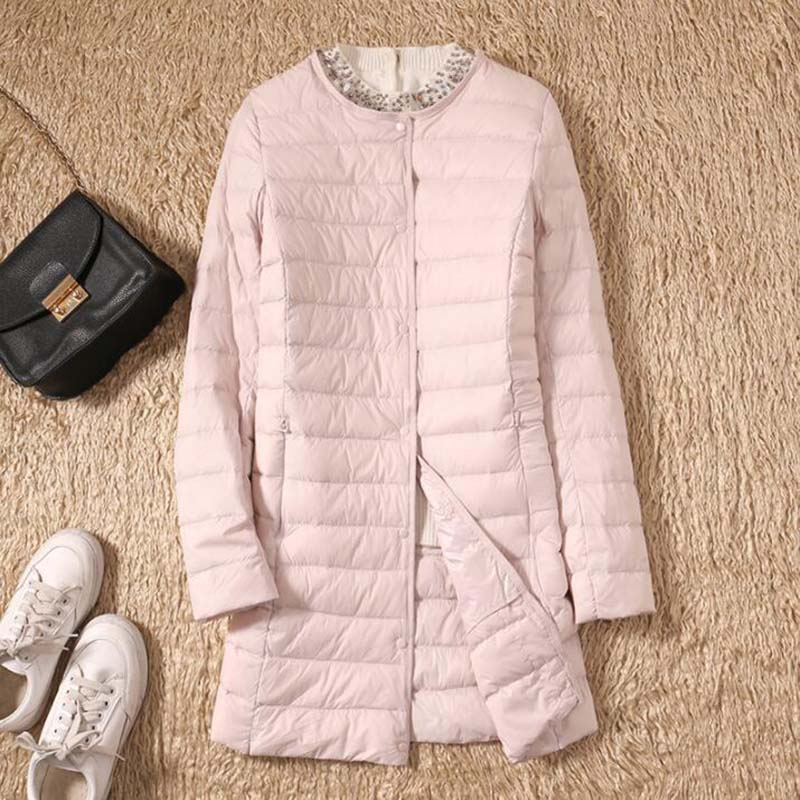 Autumn Winter Ultra Light   Down   Jackets Women Medium Long Thin White Duck   Down     Coat   Single-breasted O-Neck Slim Puffer Jacket