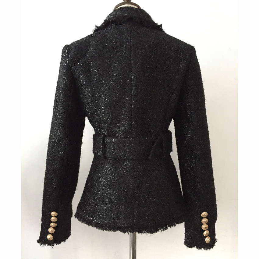 Blazer Woman Spring Autumn 2019 New Fashionable Short Bright Silk Threads Wool Belt Slim Fit Double Breasted Black Blazer Jacket