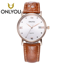 ONLYOU Women Watches For Chinese Brand Fashion Men's Watch Leather Wristwatch Date Display Waterproof Clock Femmes Horloge