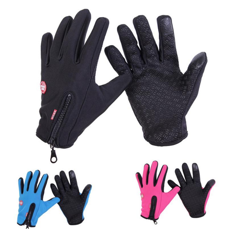 Winter Gloves Men Women Anti Slip Windproof Thermal Warm Mitten Touched Screen Mittens Black Glove Zipper Windstopers Ski Gloves