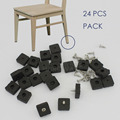 24 pc chair leg pad floor protect nail on rubber square black 24x24mm with screw