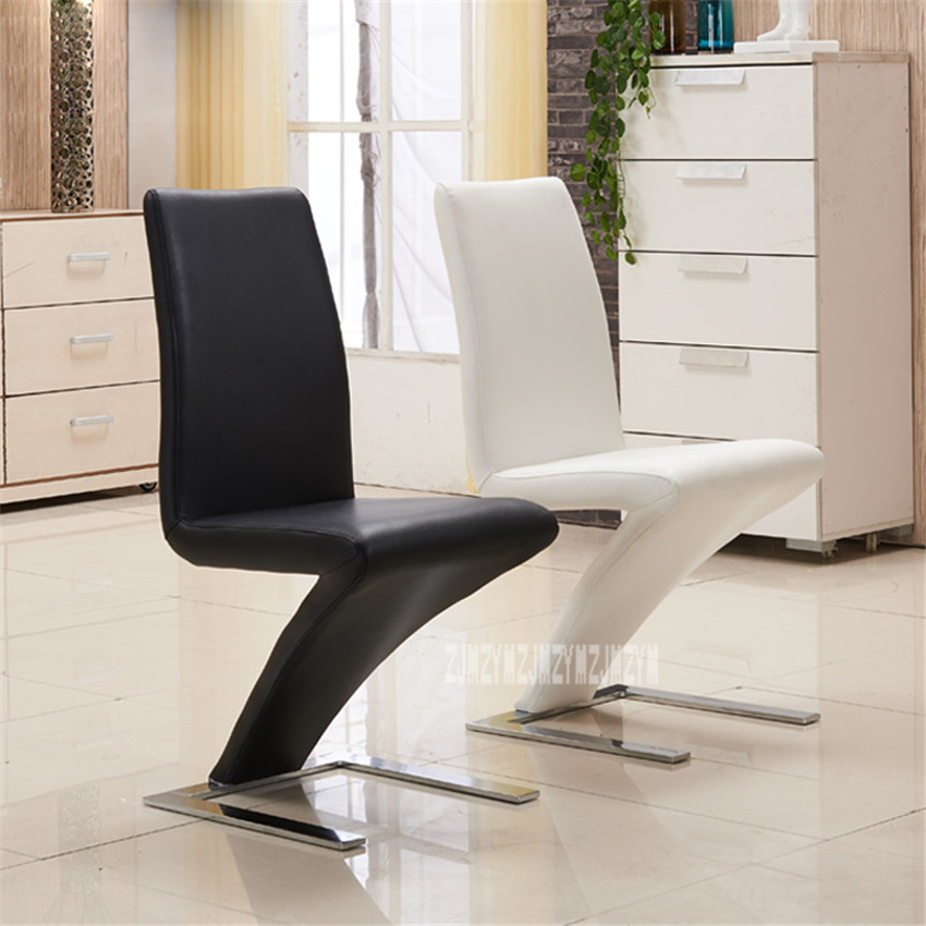 1Set/2pcs Simple Fashion Z Shape Modern Dining Chair Faux Leather Dining Room Reception Chair Hotel Home Popular Furniture