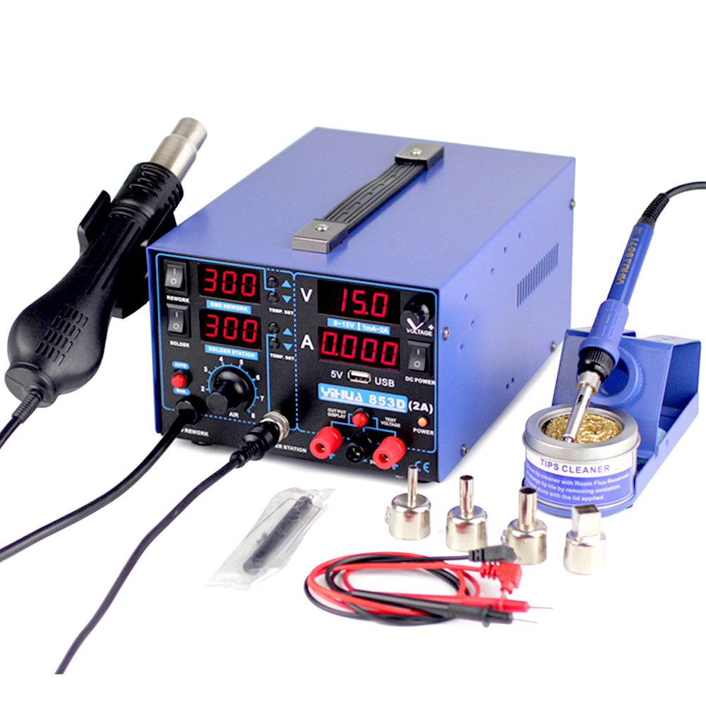 YIHUA 853D soldering station 2A 15V USB SMD DC Power Supply Hot Air Gun Soldering Iron Rework Solder Station High power EU US yihua 853d 3a 3 in 1 hot air solder rework station heat gun soldering iron 15v 1 a regulated power supply