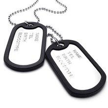 Армейский стиль 2 шт Собака Тег Кулон мужская цепочка ожерелье, серебро