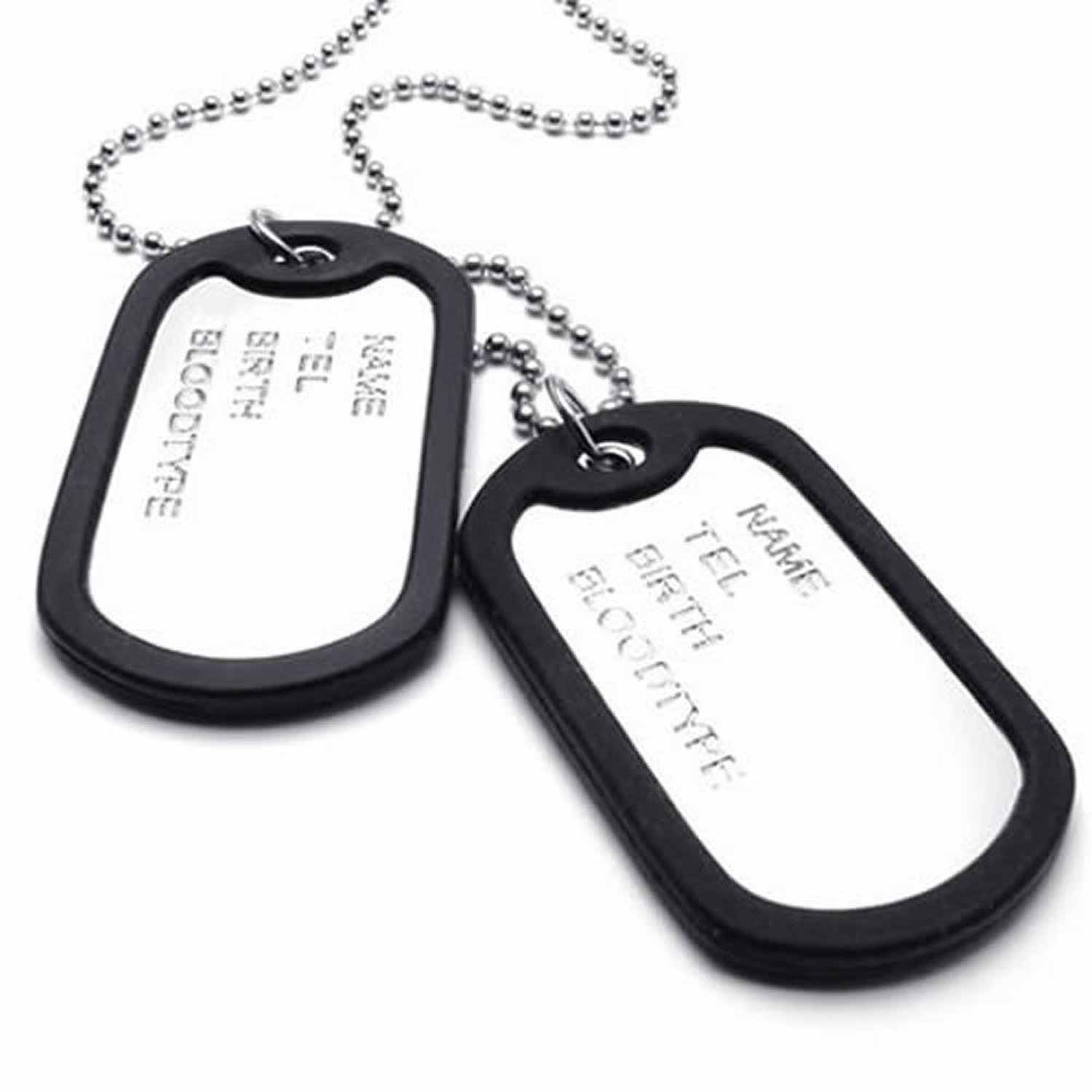 Army Style 2pcs Dog Tag Pendant Mens Necklace Chain, Silver
