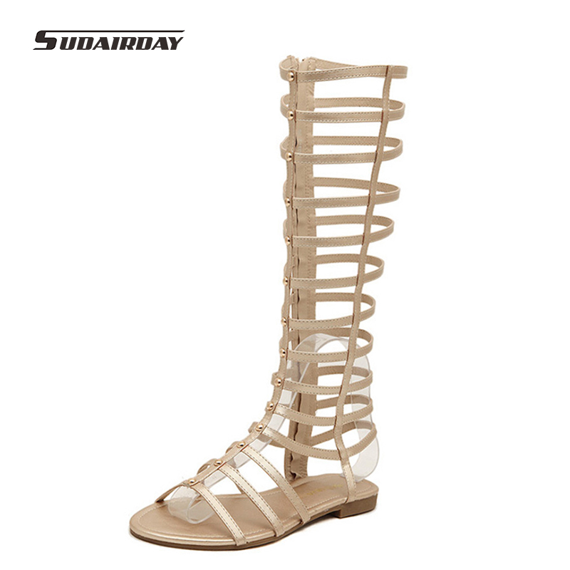 New 2017 Women Summer Flat Heel Shoes Women Sexy Open Toe Knee High Gladiator Sandals Woman Cut-outs Cool Summer Flats Size35-40 2015 new deluxe brand 100% high quality flat summer women knee high gladiator sandals genuine leather cut outs cover heel shoes