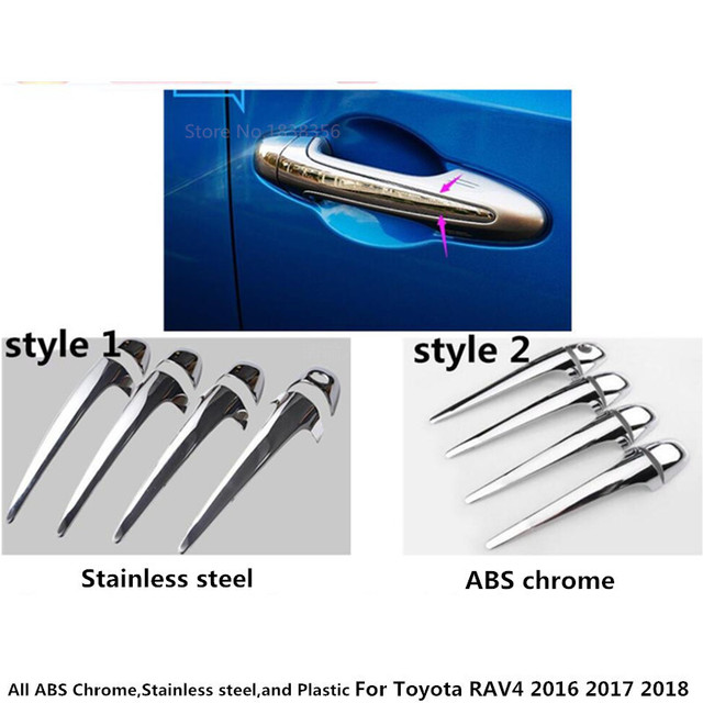 Car Body Style Stick Frame Lamp Trim ABS Chrome/stainless Steel Door Handle  Panel Hoods 8pcs For Toyota New RAV4 2016 2017 2018