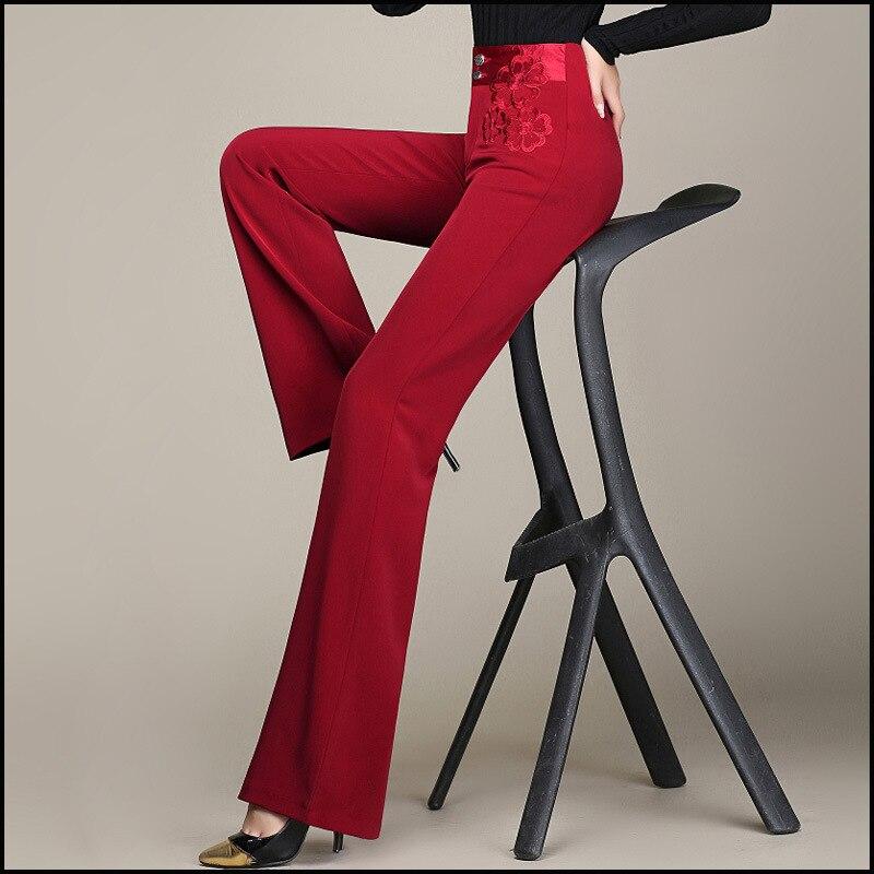 Marque 2016 Printemps Mode Femmes Pantalons Pour Dames Elegent Pantalon Jambe Large Taille Haute Dames Pantalon Droit 5XL 6XL Rouge Marron