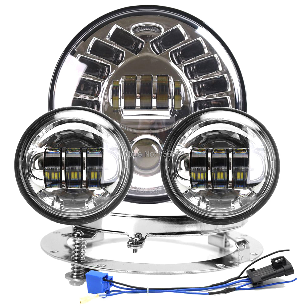 7 LED Round Headlight Hi/Low With DRL+7 Headlight Mounting Bracket Ring&4.5inch Passing Auxiliary Fog Lights For Road King