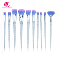 START MAKERS 10Pcs Unicorn Makeup Brushes Transparent Beauty Tools Powder Foundation Eyebrow Eyeshadow Highlighter Fan Brush