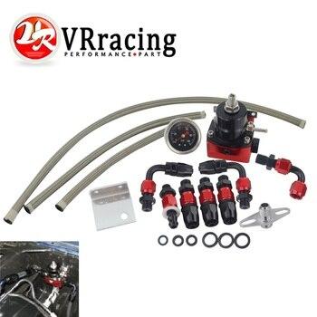VR - Black&Red Universal fpr AN6 Fitting EFI fuel pressure regulator For 7MGTE MKIII with hose line.Fittings.Gauge VR7842BKRD