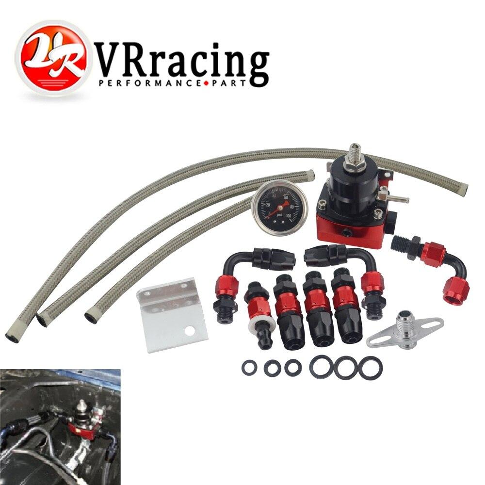 VR-ブラック & レッドユニバーサル fpr AN6 フィッティング EFI 燃料圧力レギュレータ 7MGTE MKIII ホースライン。継手。ゲージ VR7842BKRD