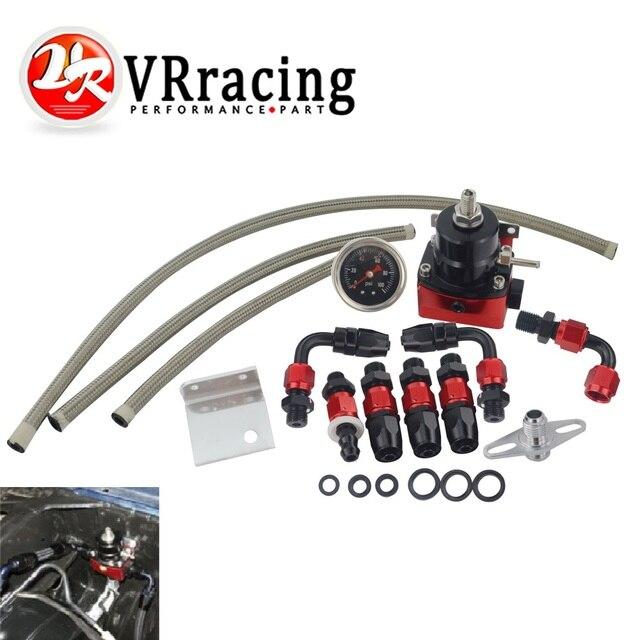 VR   Black&Red Universal fpr AN6 Fitting EFI fuel pressure regulator For 7MGTE MKIII with hose line.Fittings.Gauge VR7842BKRD