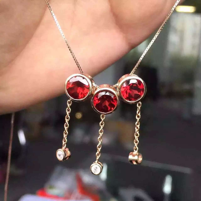 natural red garnet  pendant S925 Sterling silver Natural gemstone Pendant Necklace trendy simple  round  women party jewelry