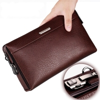 Luxury Brand Business Men Wallet Genuine Leather Men Clutch Wallet Vintage Male Purse Large Capacity Phone