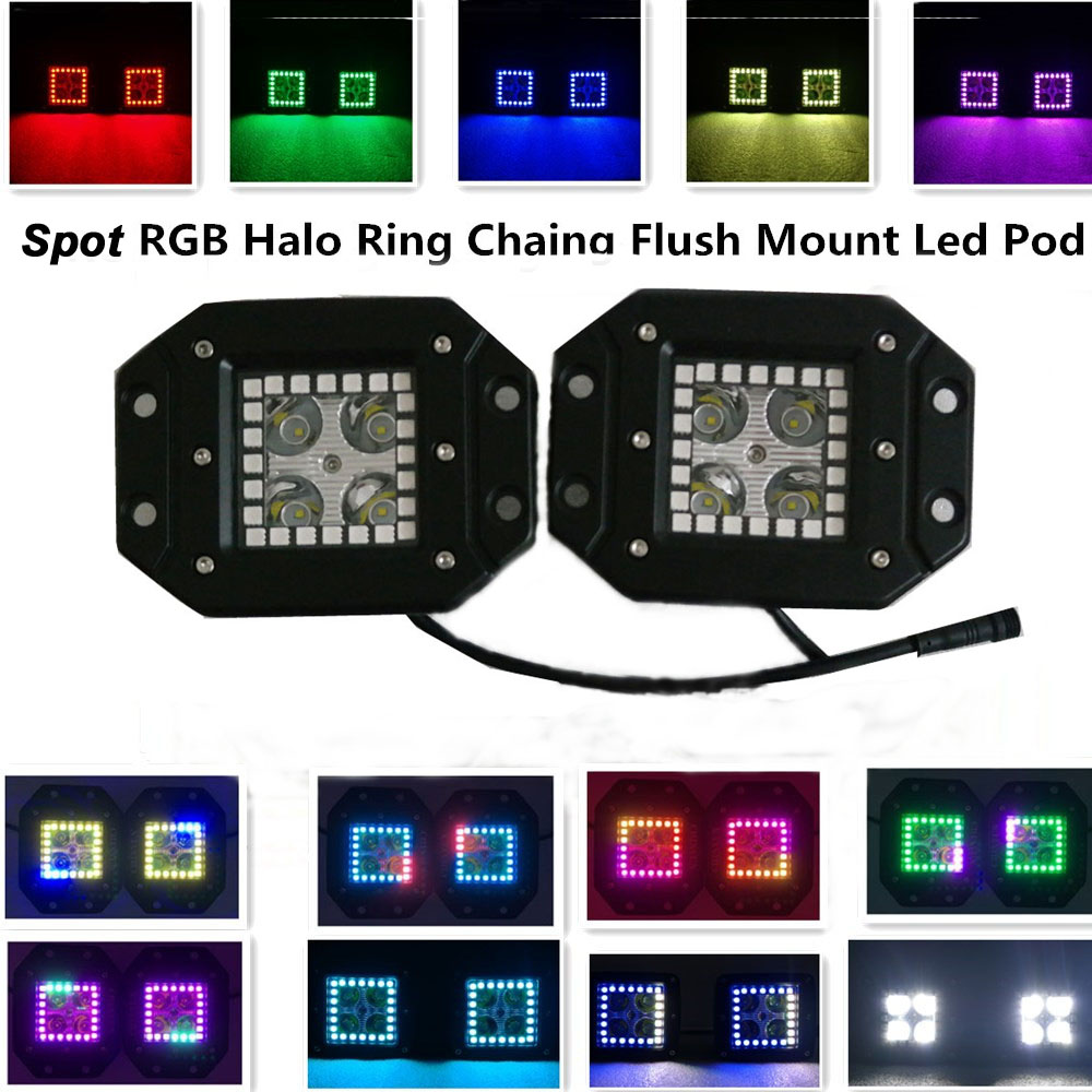 ФОТО 16W Led Fog Light Spot 1600LM RGB Halo Ring 12 Solid Color Changing 300 flashing Modes 12v led work light  free wire harness