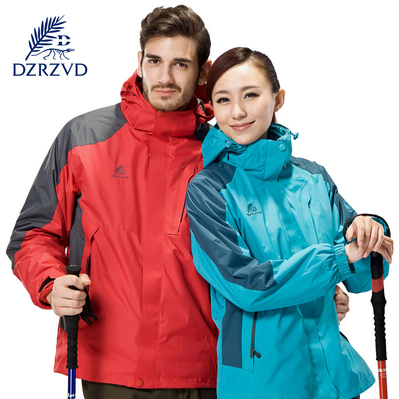 DZRZVD  Winter New Real Female Hiking Jackets Waterproof Ultra - Warm Couple Outdoor Sports Men 's Travel Clothes yin qi shi man winter outdoor shoes hiking camping trip high top hiking boots cow leather durable female plush warm outdoor boot