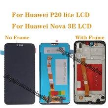 100% test nowy oryginalny wyświetlacz dla Huawei P20 Lite LCD + ekran dotykowy digitizer wymiana komponentu dla Nova 3E LCD z ramką