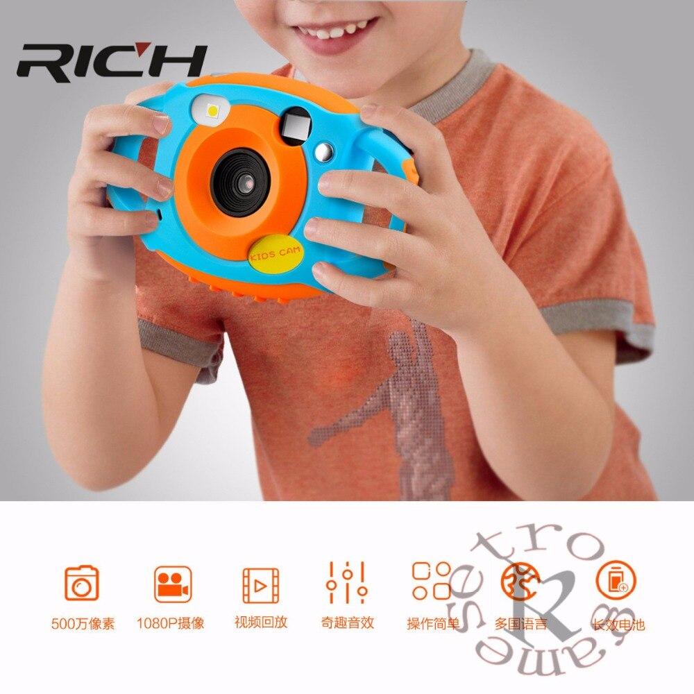 REICHE Mini Digital Kinder Kameras 5MP HD Projektion foto Digitale Tragbare Nette Neck Kind Fotografie Video Kamera Kinder Geschenk