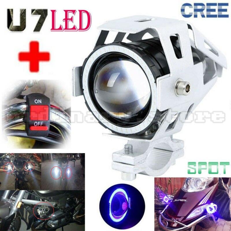 2017 Motorcycle U7 LED 125W 3000LM Spotlight Headlight Fog Light W/ Blue Angel Eyes Halo Ring Driving Spot Lamp + 1pcs Switch стоимость