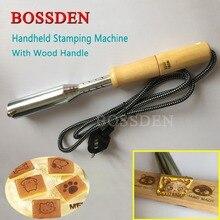 BOSSDEN 電気はんだごて革ケーキ木製皮肉ホットスタンピングマシン真鍮ロゴブロンズエンボスブランド印刷ツール