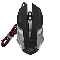 2400 DPI 6D USB Wired Optical Gaming Mouse with 4 Colors Breathing Light
