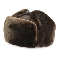 Outdoor Ski 30 Dgree Genuine Cow Skin Leather Men's Bomber Hats With Ear Russian Winter Faux Fur Earmuffs Camping Hiking Caps