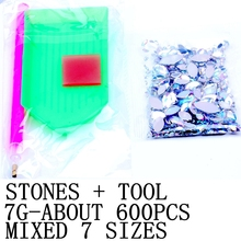 7G 600PCS 7 Sizes Acrylic Rhinestones Eye Shape Crystal AB Flat Back Nail Rhinestone 3D Non HotFix Nail Art Decoration DIY Tool