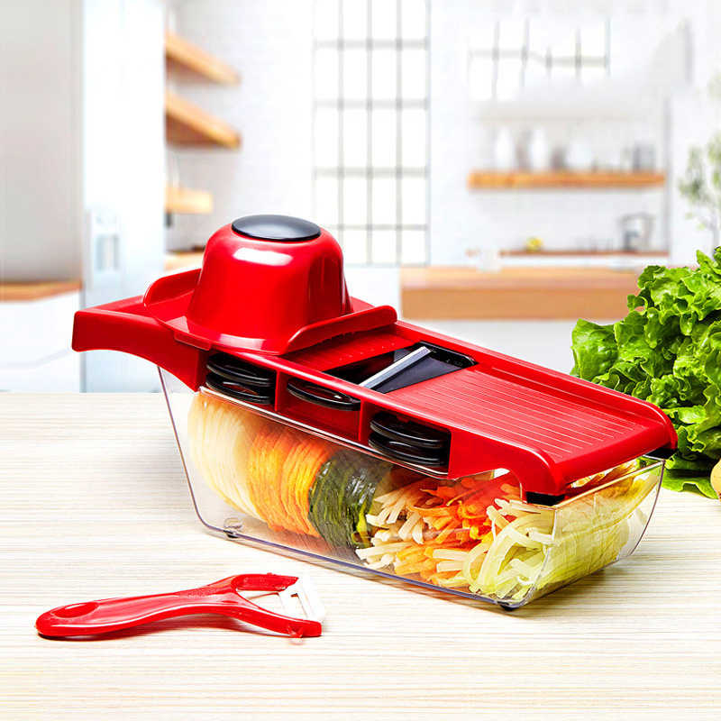 Kreatif Mandoline Slicer Vegetable Cutter dengan Pisau Stainless Steel Manual Multi-Fungsi Pengupas Kentang Wortel Parutan