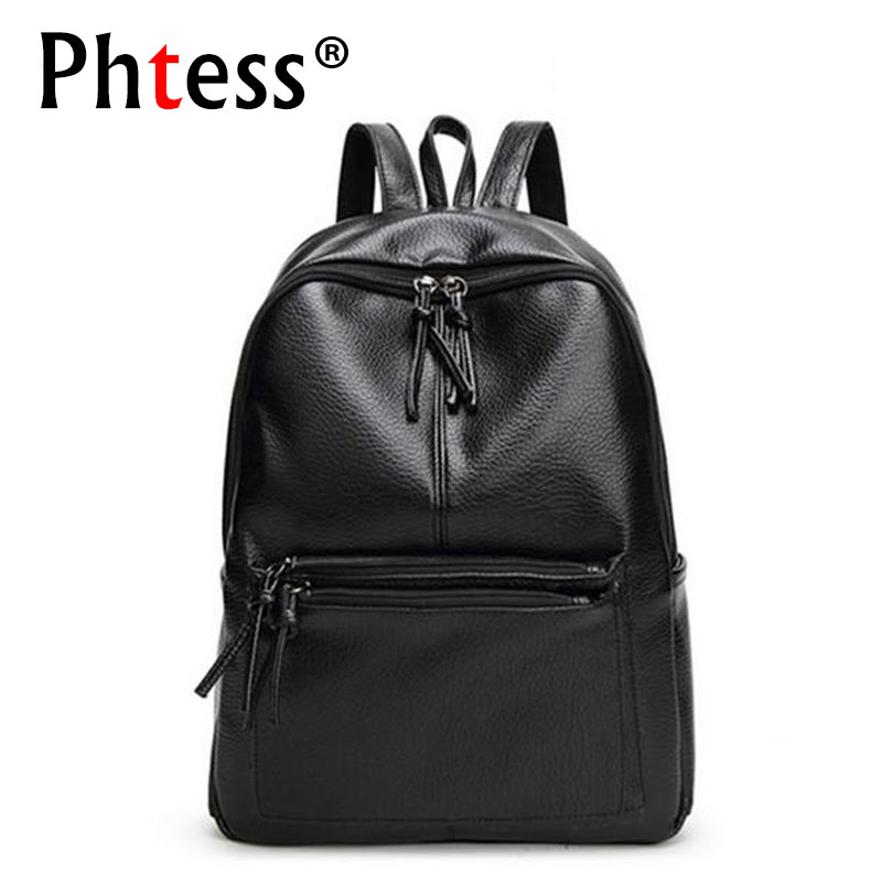 PHTESS School Backpacks For Teenage Girls Sac a Dos Black Travel Leather Backpack School Bags For Teens Female Bagpack Mochilas fashion women backpack black soft leather backpacks female school shoulder bags for teenage girls travel back pack sac a dos