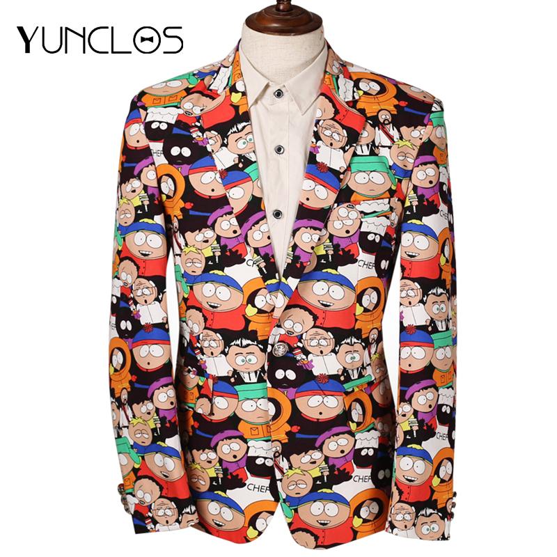 YUNCLOS Cartoon Printed Men Suit Jacket Slim Fit Party Stage Perform Dress Men Jackets Latest Design Plus Size 6XL EU Size